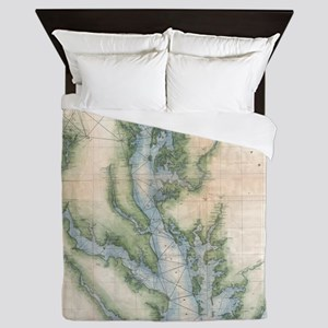 Vintage Map of The Chesapeake Bay (187 Queen Duvet