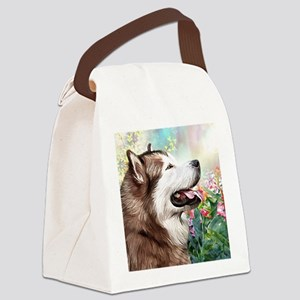 Alaskan Malamute Painting Canvas Lunch Bag
