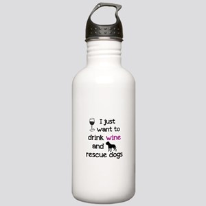 Drink wine and rescue dogs Water Bottle