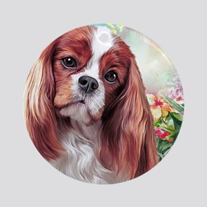 Cavalier King Charles Spaniel Painting Round Ornam