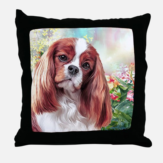 Cavalier King Charles Spaniel Painting Throw Pillo