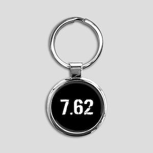 7.62 Ammo: Black & White Round Keychain