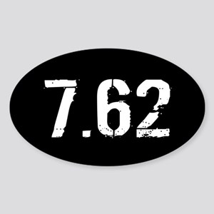 7.62 Ammo: Black & White Sticker (Oval)
