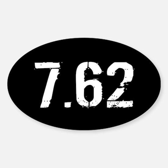 7.62 Ammo: Black & White Sticker (Oval)