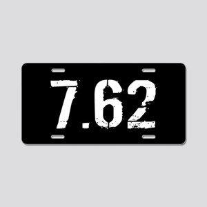7.62 Ammo: Black & White Aluminum License Plate