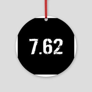 7.62 Ammo: Black & White Round Ornament