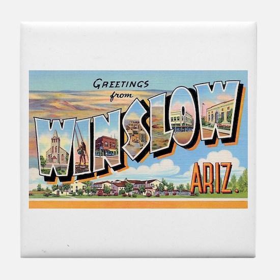Winslow Arizona Greetings Tile Coaster