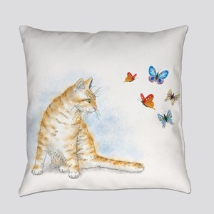 Cat 616 butterfly Everyday Pillow