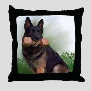 German Shepherd Mic Throw Pillow