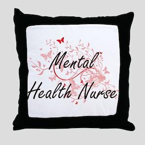 Mental Health Nurse Artistic Job Desi Throw Pillow