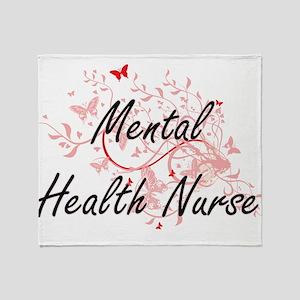 Mental Health Nurse Artistic Job Des Throw Blanket