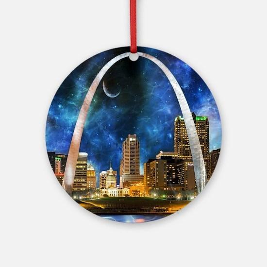 Spacey St. Louis Skyline Round Ornament