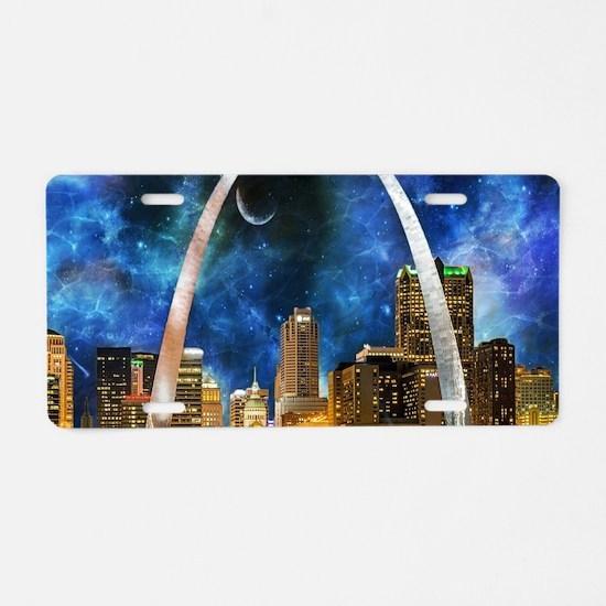 Spacey St. Louis Skyline Aluminum License Plate