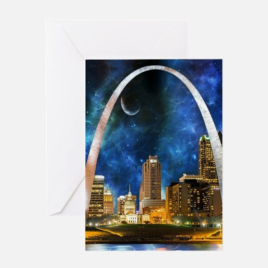 Spacey St. Louis Skyline Greeting Cards