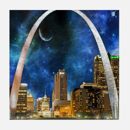 Spacey St. Louis Skyline Tile Coaster