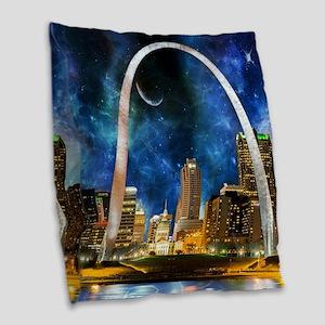 Spacey St. Louis Skyline Burlap Throw Pillow