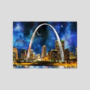 Spacey St. Louis Skyline 5'x7'Area Rug