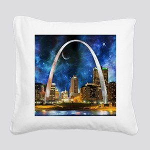 Spacey St. Louis Skyline Square Canvas Pillow