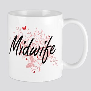 Midwife Artistic Job Design with Butterflies Mugs