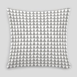 Grey, Fog: Triangle Arrows Pattern Everyday Pillow