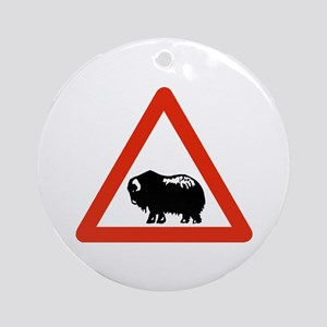 Caution Musk Oxen, Greenland Ornament (Round)