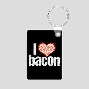 I Heart Bacon Aluminum Photo Keychain