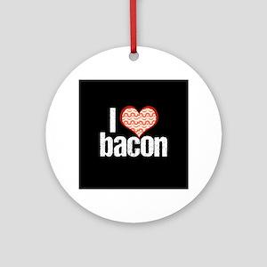 I Heart Bacon Round Ornament