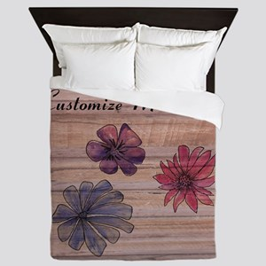 Watercolor Flowers to Personalize Queen Duvet