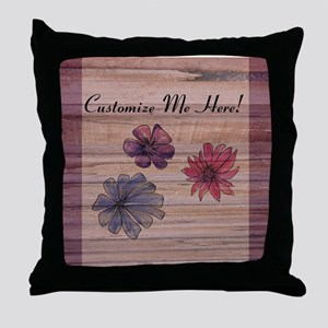 Watercolor Flowers to Personalize Throw Pillow