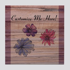 Watercolor Flowers to Personalize Tile Coaster