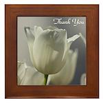White Tulips Thank you Framed Tile