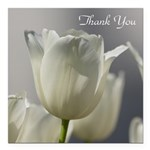 White Tulips Thank you Square Car Magnet 3