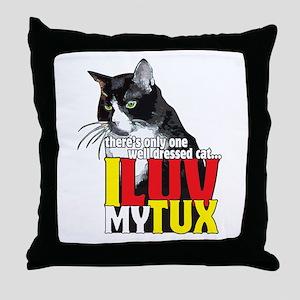 I Love My Tuxedo Cat Throw Pillow