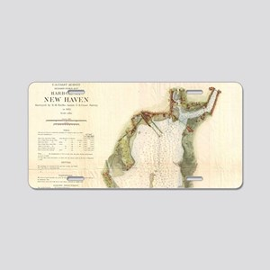 Vintage Map of New Haven Ha Aluminum License Plate