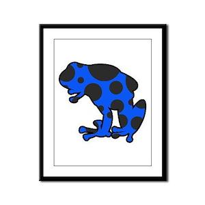 Blue and Black Frog Framed Panel Print