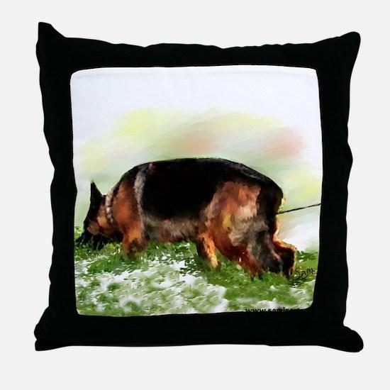 German Shepherd Tracking Throw Pillow