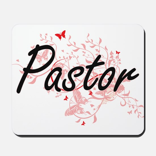 Pastor Artistic Job Design with Butterfl Mousepad