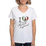 I Love Heart my Mexican Boyfr Women's V-Neck T-Shi