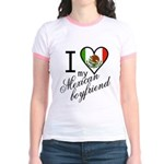 I Love Heart my Mexican Boyfr Jr. Ringer T-Shirt