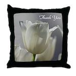 White Tulips Thank you Throw Pillow