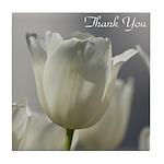 White Tulips Thank you Tile Coaster