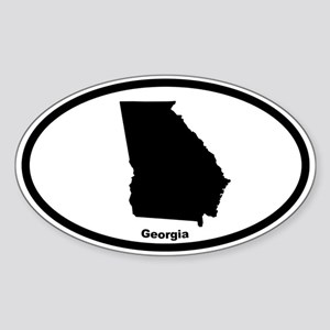 Georgia State Outline Oval Sticker