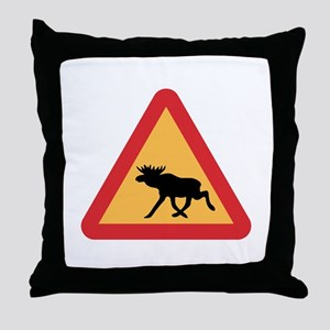 Caution Elks, Sweden Throw Pillow