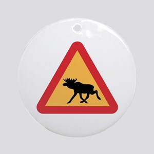 Caution Elks, Sweden Ornament (Round)