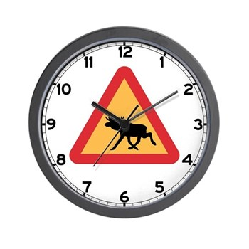 Caution Elks, Sweden Wall Clock