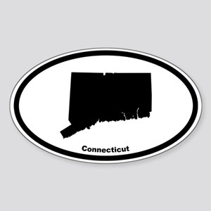 Connecticut State Outline Oval Sticker