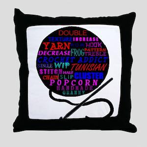 CROCHET TERMS Throw Pillow