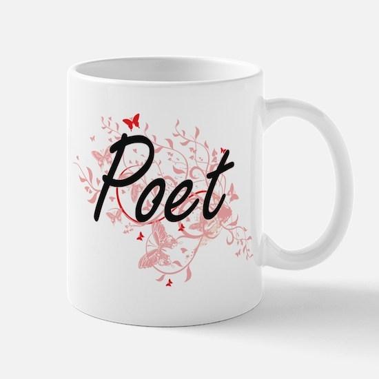 Poet Artistic Job Design with Butterflies Mugs