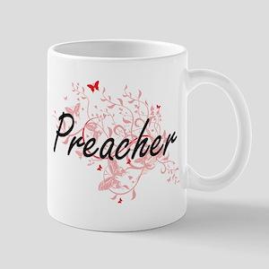 Preacher Artistic Job Design with Butterflies Mugs
