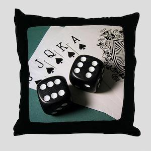 Cards And Dice Throw Pillow